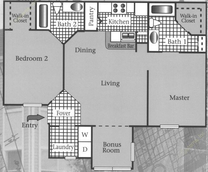 951 sq. ft. 60% floor plan