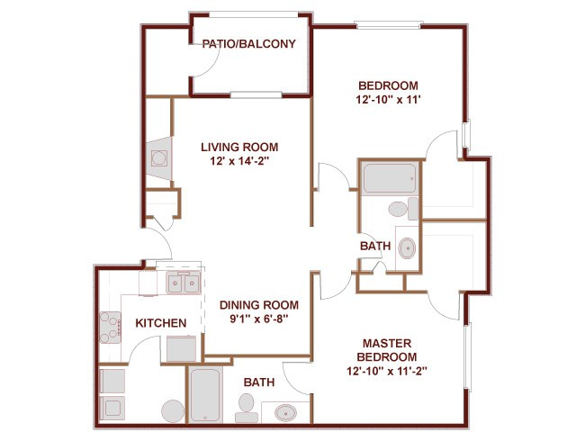 999 sq. ft. to 1,330 sq. ft. 22A floor plan