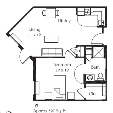 597 sq. ft. B3 floor plan