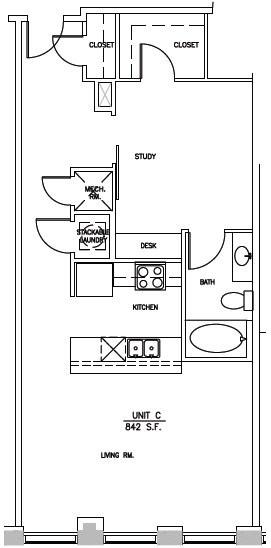 842 sq. ft. ELM C floor plan