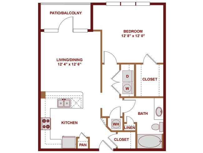 730 sq. ft. A325 floor plan