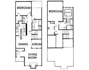 1,400 sq. ft. B5 floor plan