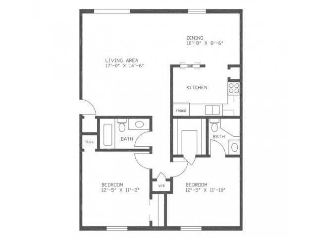 1,015 sq. ft. C3M floor plan