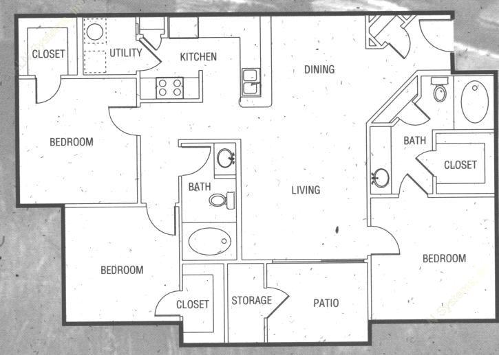 1,185 sq. ft. C2 floor plan