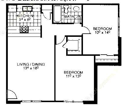 837 sq. ft. floor plan