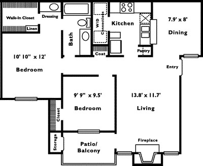 870 sq. ft. 2A floor plan