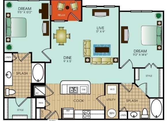 1,152 sq. ft. floor plan