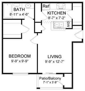 569 sq. ft. A1A floor plan