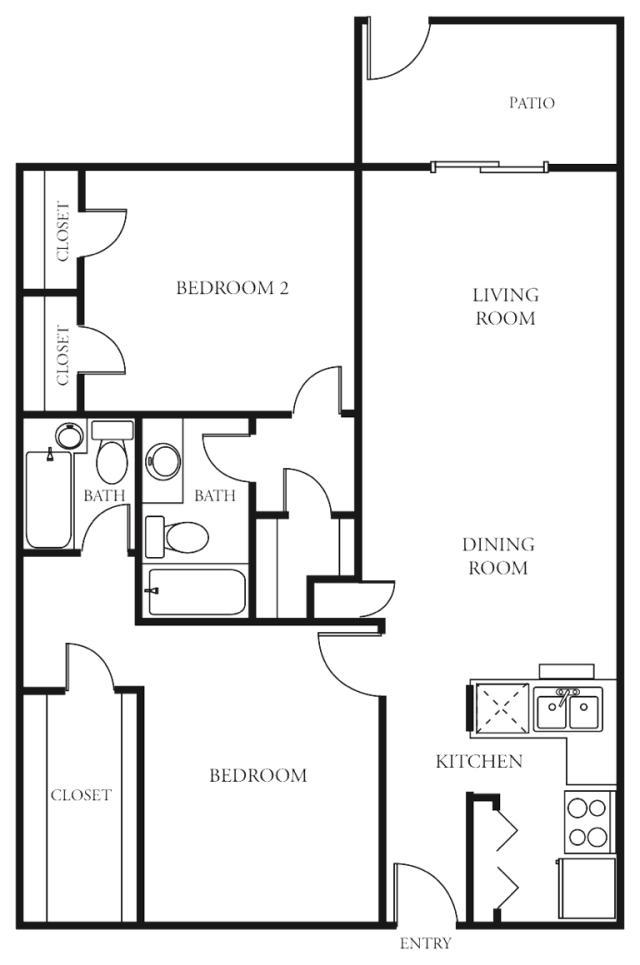 1,008 sq. ft. F floor plan
