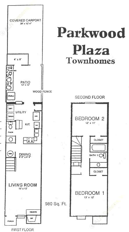 980 sq. ft. A floor plan