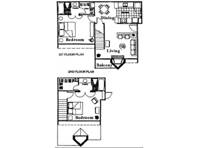 1,014 sq. ft. F floor plan