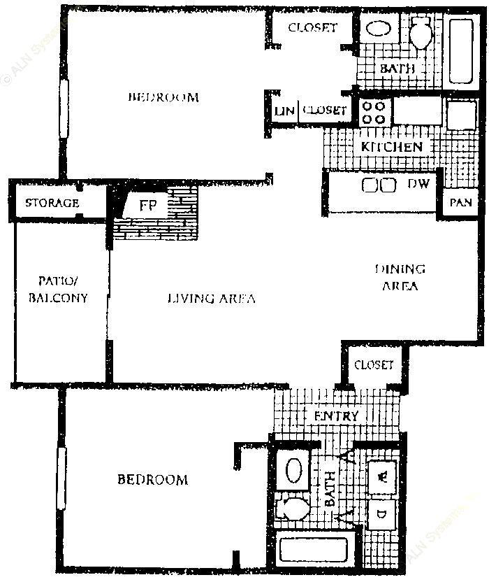 957 sq. ft. B1 floor plan