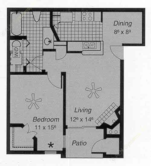 658 sq. ft. II B floor plan