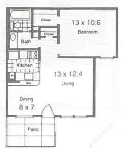 575 sq. ft. A3 floor plan