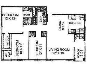 1,132 sq. ft. 60 floor plan