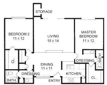 995 sq. ft. to 1,039 sq. ft. B5 floor plan