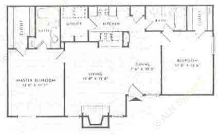 1,000 sq. ft. D floor plan