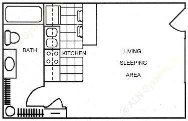 327 sq. ft. floor plan