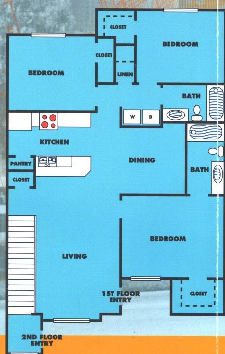 1,214 sq. ft. 3A/60% floor plan