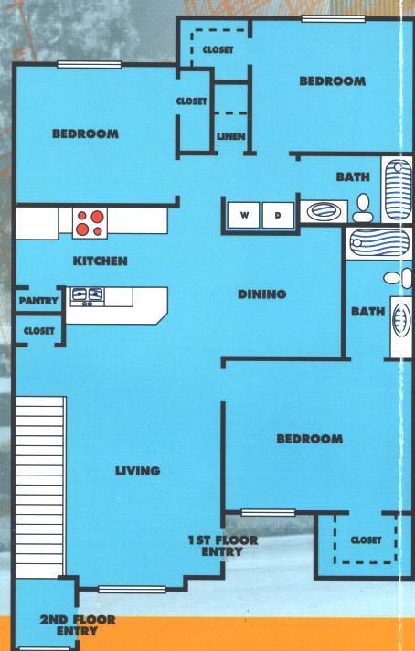 1,214 sq. ft. 3A/60% floor plan