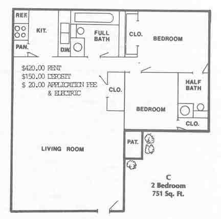 751 sq. ft. floor plan