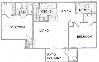 885 sq. ft. 2A floor plan