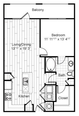 825 sq. ft. A6 floor plan