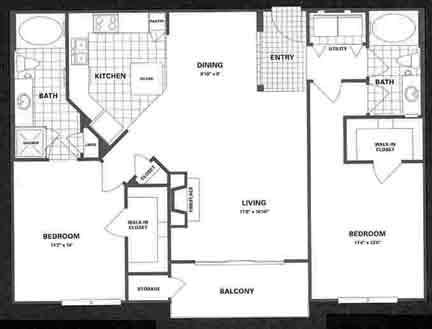 1,195 sq. ft. B5P floor plan
