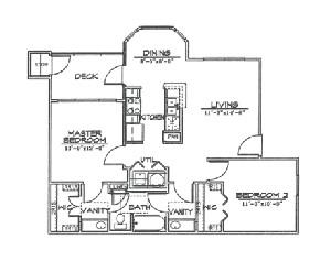 865 sq. ft. B1 floor plan