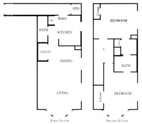 1,031 sq. ft. B2A/60 floor plan