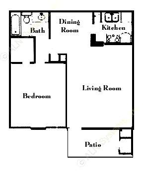 639 sq. ft. A6 floor plan