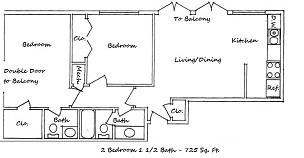 725 sq. ft. A floor plan