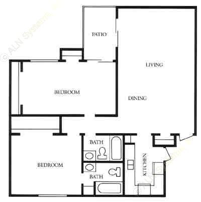 1,212 sq. ft. B3 floor plan