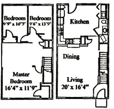 1,304 sq. ft. C floor plan