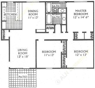 1,340 sq. ft. K floor plan