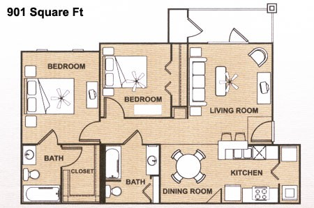 901 sq. ft. 60 floor plan