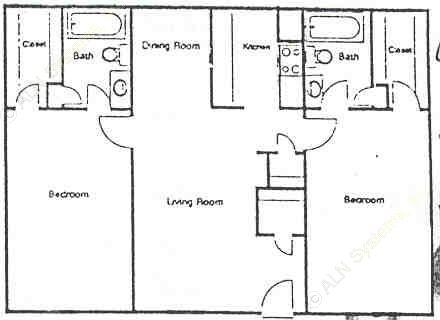 964 sq. ft. F floor plan