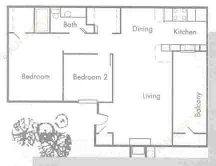 775 sq. ft. B1 floor plan
