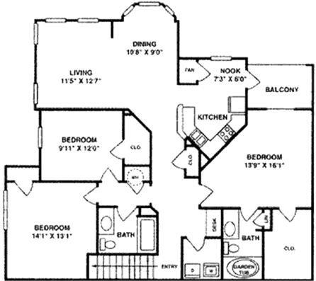 1,559 sq. ft. C2 UPPER floor plan