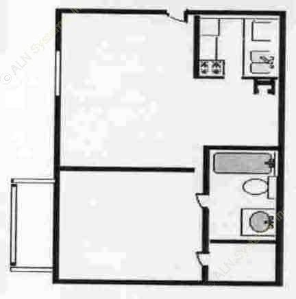 517 sq. ft. EFF floor plan