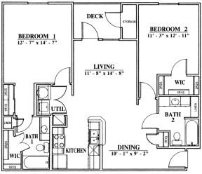 1,069 sq. ft. B2 floor plan