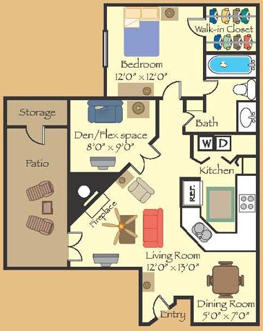 920 sq. ft. 11D floor plan