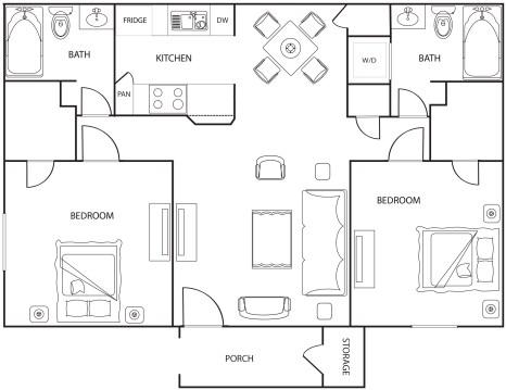 957 sq. ft. floor plan