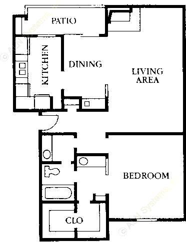 838 sq. ft. A1 floor plan