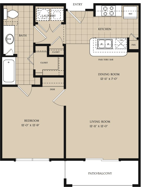 698 sq. ft. A1 floor plan