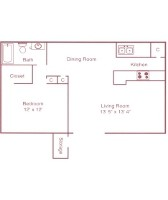 610 sq. ft. A floor plan