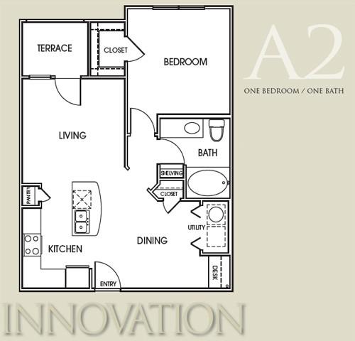 775 sq. ft. A2 floor plan