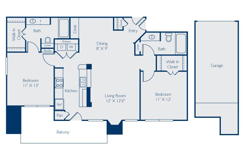 1,186 sq. ft. Austin w/Garage floor plan