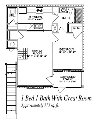 713 sq. ft. floor plan
