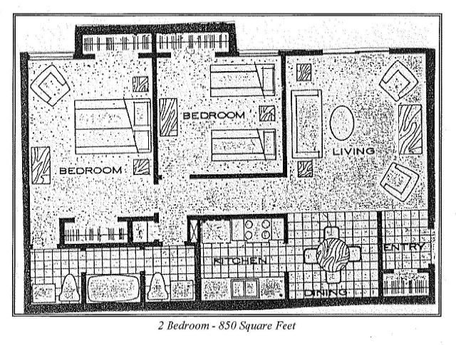 850 sq. ft. 2b floor plan